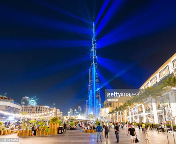 Outside Dubai mall in the evening
