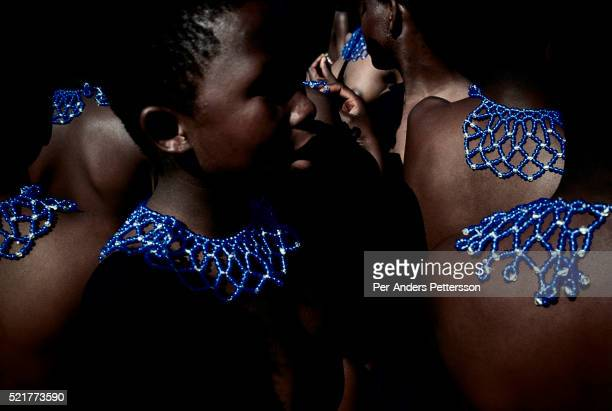 Outside Enyokeni Royal Palace Nongoma rural Natal South Africa Young maidens line up to dance for Zulu king Goodwill Zwelethini at the annual Reed...
