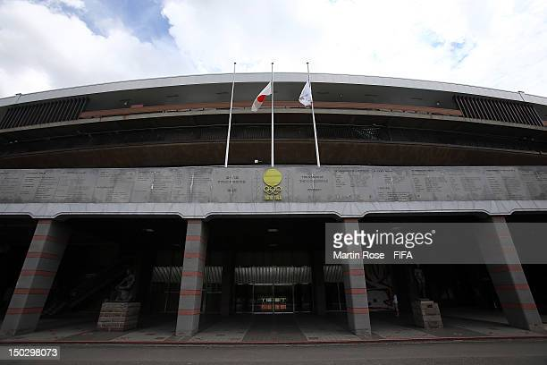A outside general view of the National Stadium ahead of the FIFA U20 Women's World Cup tournament which kicks off in Japan on August 19th 2012