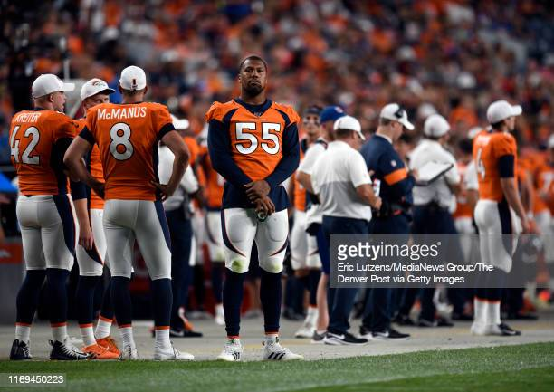 Outside linebacker Bradley Chubb of the Denver Broncos looks toward the end zone during the third quarter of the game on Monday August 19 at Broncos...