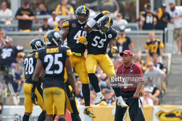 Outside linebacker Bud Dupree of the Pittsburgh Steelers and outside linebacker Arthur Moats of the Pittsburgh Steelers celebrates after a play...