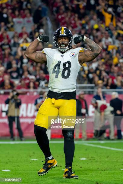 Outside linebacker Bud Dupree of the Pittsburgh Steelers celebrates a play during the NFL game against the Arizona Cardinals at State Farm Stadium on...