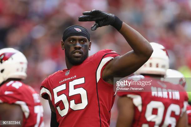 Outside linebacker Chandler Jones of the Arizona Cardinals during the first half of the NFL game against the New York Giants at the University of...