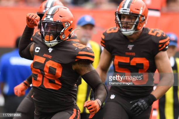 Outside linebacker Christian Kirksey of the Cleveland Browns celebrates a tackle for loss in the third quarter of a game against the Tennessee Titans...