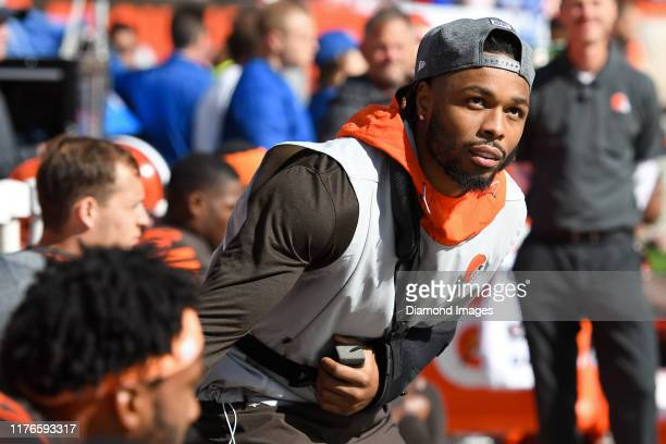 Outside linebacker Christian Kirksey of the Cleveland Browns on the sideline prior to a game against the Seattle Seahawks on October 13 2019 at...