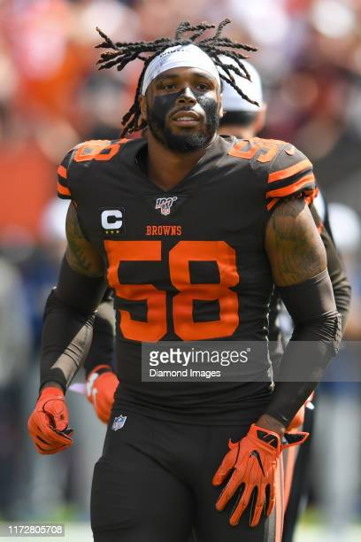 Outside linebacker Christian Kirksey of the Cleveland Browns runs off the field prior to a game against the Tennessee Titans on September 8 2019 at...