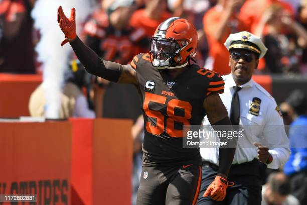 Outside linebacker Christian Kirksey of the Cleveland Browns runs onto the field prior to a game against the Tennessee Titans on September 8 2019 at...
