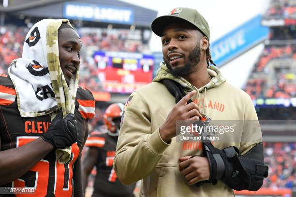 Outside linebacker Christian Kirksey of the Cleveland Browns walks off the field at halftime of a game against the Buffalo Bills on November 10 2019...