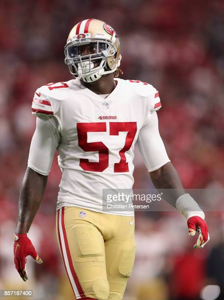 Outside linebacker Eli Harold of the San Francisco 49ers during the NFL game against the Arizona Cardinals at the University of Phoenix Stadium on...