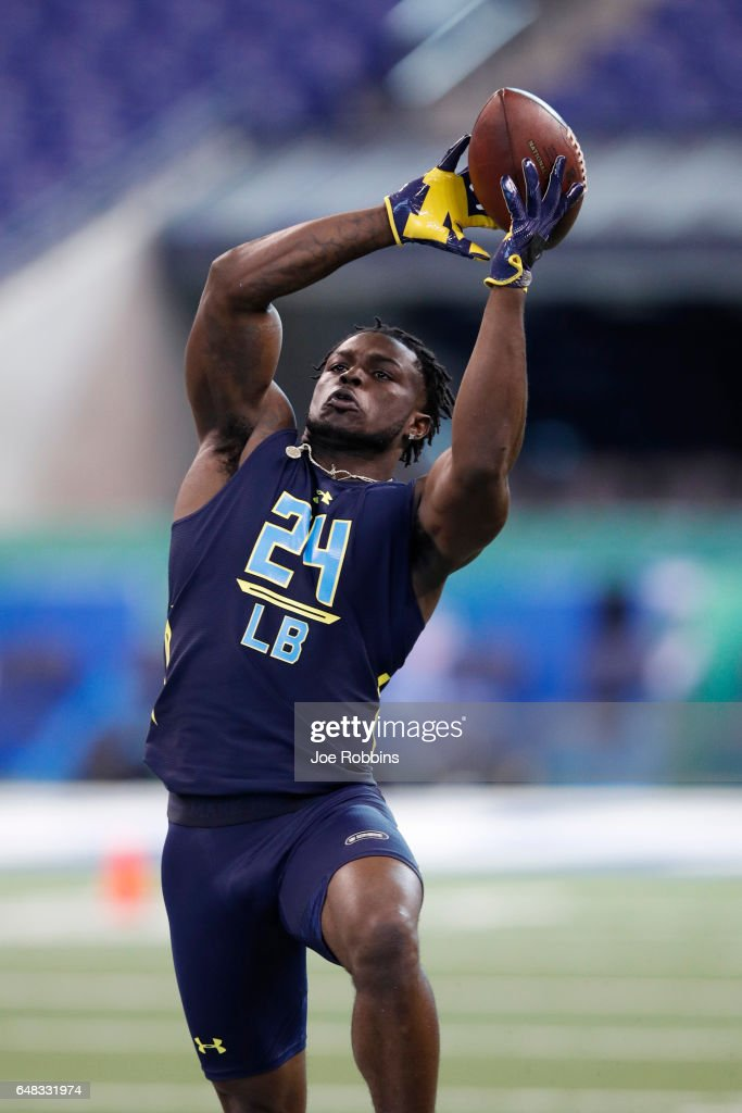 Outside linebacker Jabrill Peppers of Michigan participates in a drill during day five of the NFL Combine at Lucas Oil Stadium on March 5, 2017 in Indianapolis, Indiana.