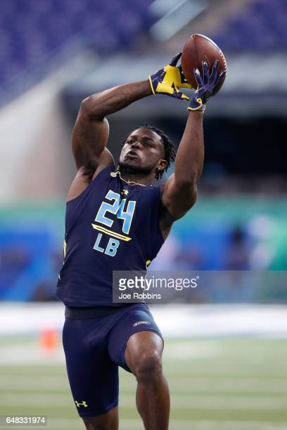 Outside linebacker Jabrill Peppers of Michigan participates in a drill during day five of the NFL Combine at Lucas Oil Stadium on March 5 2017 in...