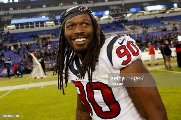 Outside Linebacker Jadeveon Clowney of the Houston Texans walks off the field after a 1623 loss to the Baltimore Ravens at MT Bank Stadium on...
