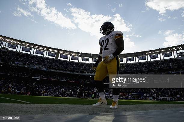 Outside linebacker James Harrison of the Pittsburgh Steelers takes part in pregame warmups before playing the San Diego Chargers at Qualcomm Stadium...