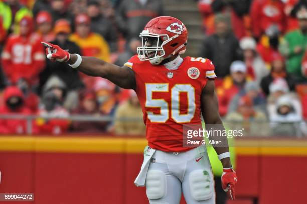 Outside linebacker Justin Houston of the Kansas City Chiefs points out instructions against the Miami Dolphins during the second half of the game at...