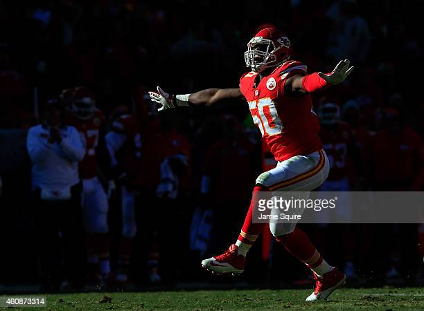 Outside linebacker Justin Houston of the Kansas City Chiefs reacts after sacking quarterback Philip Rivers of the San Diego Chargers during the first...