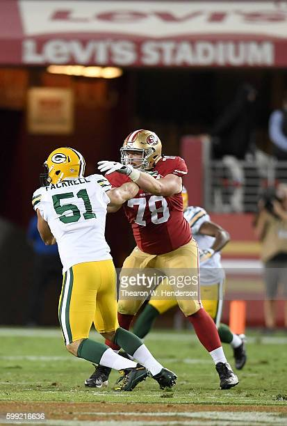 Outside linebacker Kyler Fackrell of the Green Bay Packers rushes up against John Theus of the San Francisco 49ers in the second half of their...