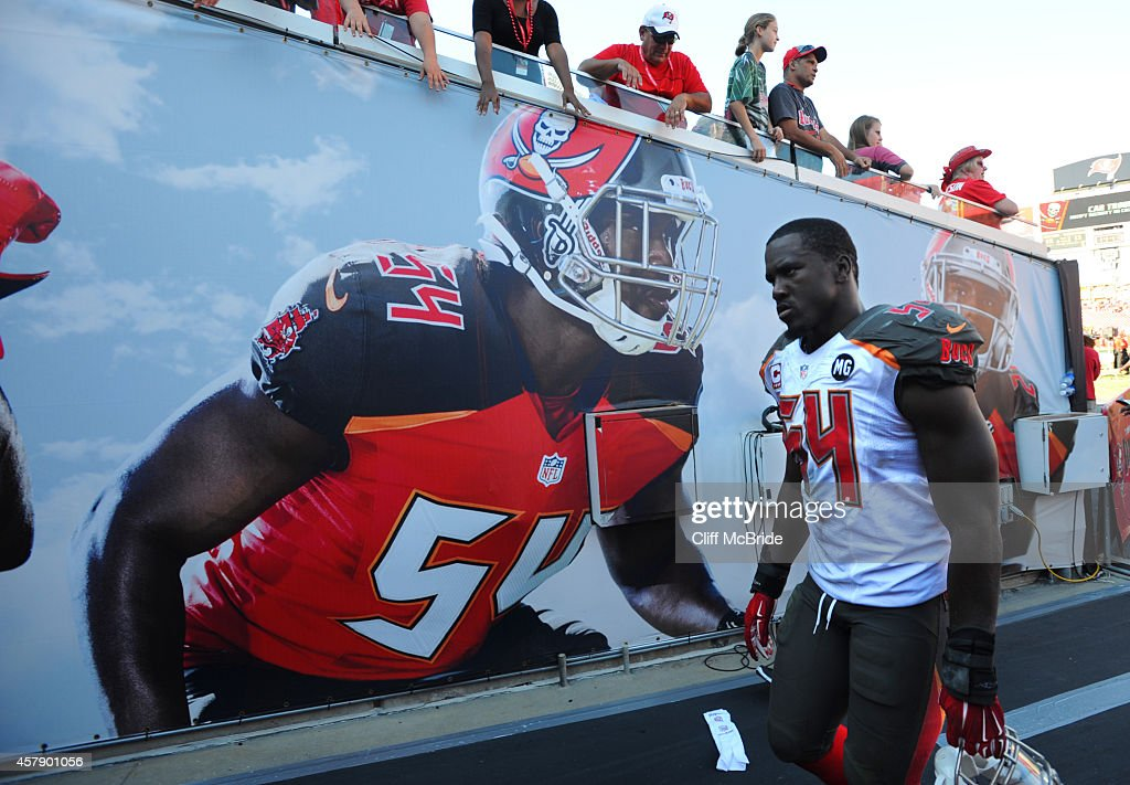 Outside linebacker Lavonte David #54 of the Tampa Bay Buccaneers walks off the field after their loss against the Minnesota Vikings at Raymond James Stadium on October 26, 2014 in Tampa, Florida.