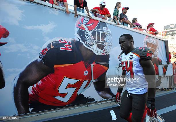 Outside linebacker Lavonte David of the Tampa Bay Buccaneers walks off the field after their loss against the Minnesota Vikings at Raymond James...