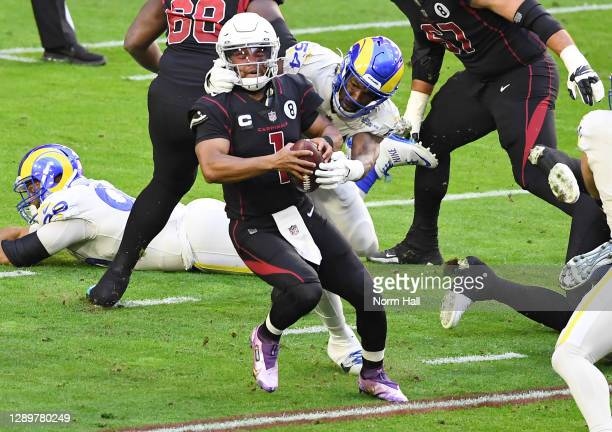 Outside linebacker Leonard Floyd of the Los Angeles Rams sacks quarterback Kyler Murray of the Arizona Cardinals during the first half at State Farm...