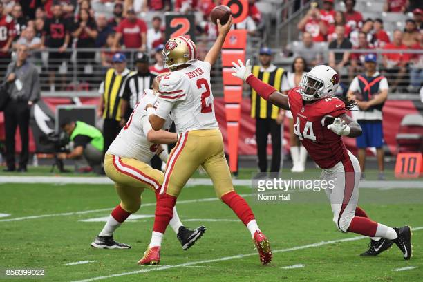 Outside linebacker Markus Golden of the Arizona Cardinals pressures quarterback Brian Hoyer of the San Francisco 49ers during the first half of the...