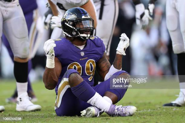Outside linebacker Matt Judon of the Baltimore Ravens celebrates a sack against the Oakland Raiders during the fourth quarter at MT Bank Stadium on...