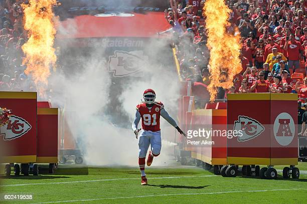 Outside linebacker Tamba Hali of the Kansas City Chiefs enters the field during player introductions before the game agains the San Diego Chargers at...