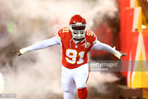 Outside linebacker Tamba Hali of the Kansas City Chiefs enters the field during pre game introductions before the game against the Pittsburgh...