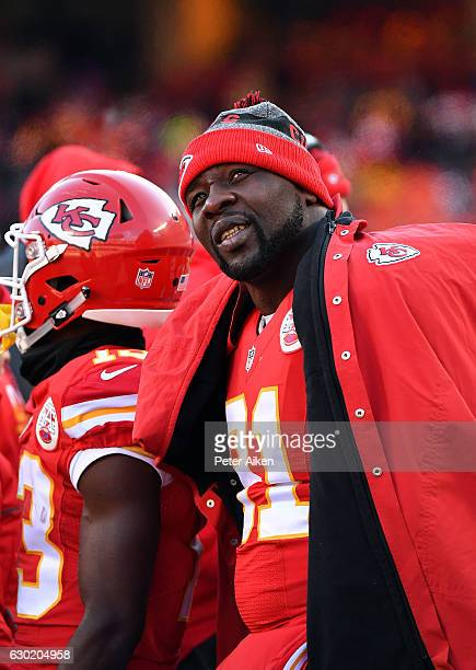 Outside linebacker Tamba Hali of the Kansas City Chiefs looks up at the scoreboard during the game against the Tennessee Titans at Arrowhead Stadium...