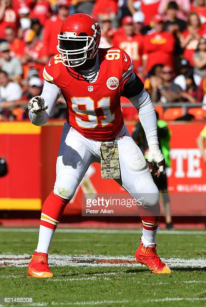 Outside linebacker Tamba Hali of the Kansas City Chiefs signals at the bench before a play agains the Jacksonville Jaguars at Arrowhead Stadium...