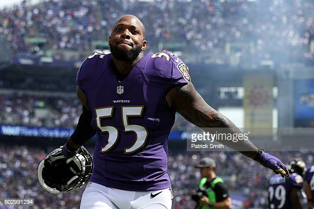 Outside linebacker Terrell Suggs of the Baltimore Ravens celebrates during the second half of the Buffalo Bills vs the Baltimore Ravens game at MT...