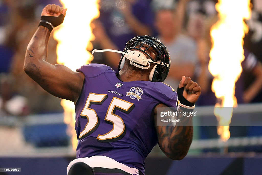 Outside linebacker Terrell Suggs #55 of the Baltimore Ravens is introduced prior to the start of a preseason game against the Washington Redskins at M&T Bank Stadium on August 29, 2015 in Baltimore, Maryland. (Photo by Matt Hazlett/ Getty Images) Terrell Suggs