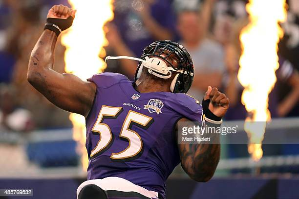 Outside linebacker Terrell Suggs of the Baltimore Ravens is introduced prior to the start of a preseason game against the Washington Redskins at MT...