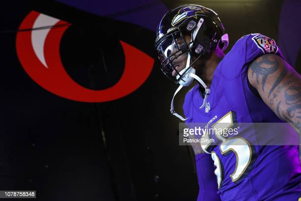 Outside linebacker Terrell Suggs of the Baltimore Ravens looks on before playing against the Los Angeles Chargers during the AFC Wild Card Playoff...