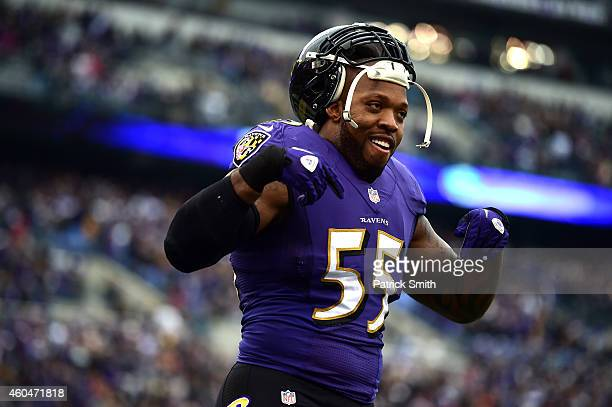 Outside linebacker Terrell Suggs of the Baltimore Ravens looks on before playing the Jacksonville Jaguars at MT Bank Stadium on December 14 2014 in...