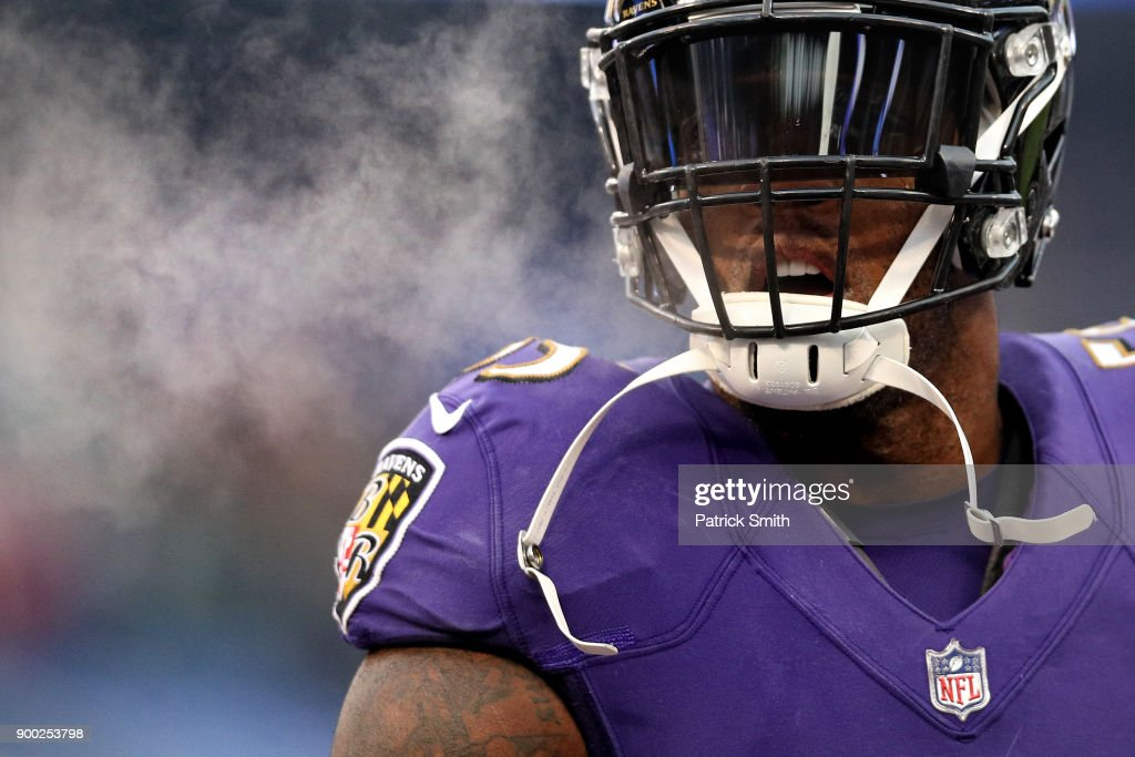 Outside Linebacker Terrell Suggs #55 of the Baltimore Ravens looks on prior to the game against the Cincinnati Bengals at M&T Bank Stadium on December 31, 2017 in Baltimore, Maryland.