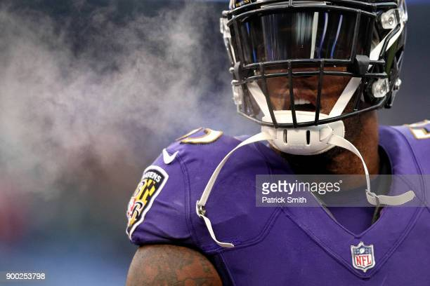 Outside Linebacker Terrell Suggs of the Baltimore Ravens looks on prior to the game against the Cincinnati Bengals at MT Bank Stadium on December 31...