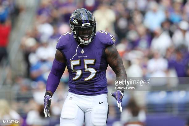 Outside linebacker Terrell Suggs of the Baltimore Ravens of the Baltimore Ravens reacts against the Baltimore Ravens in the first quarter at MT Bank...