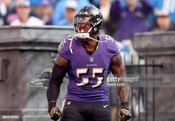 Outside Linebacker Terrell Suggs of the Baltimore Ravens takes the field for the game against the Detroit Lions at MT Bank Stadium on December 3 2017...