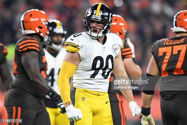Outside linebacker TJ Watt of the Pittsburgh Steelers celebrates a tackle for loss in the third quarter of a game against the Cleveland Browns on...