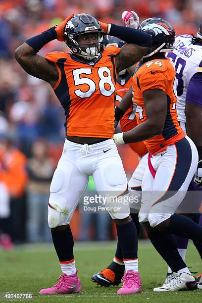 Outside linebacker Von Miller of the Denver Broncos celebrates a tackle against the Minnesota Vikings at Sports Authority Field at Mile High on...