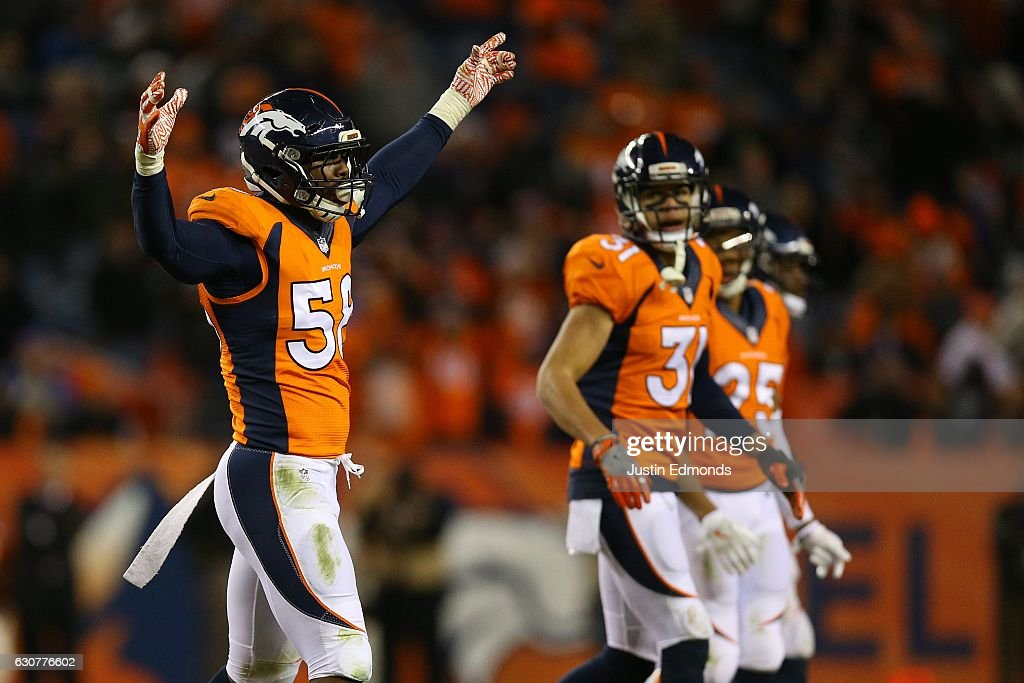 Outside linebacker Von Miller #58 of the Denver Broncos celebrates a play in the fourth quarter of the game against the Oakland Raiders at Sports Authority Field at Mile High on January 1, 2017 in Denver, Colorado.