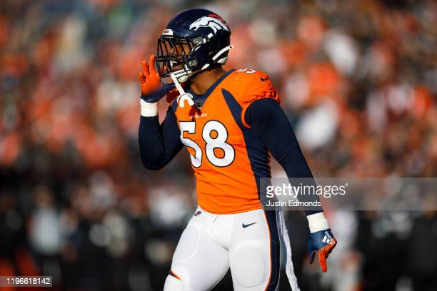 Outside Linebacker Von Miller of the Denver Broncos defends on the play against the Oakland Raiders during the second quarter at Empower Field at...