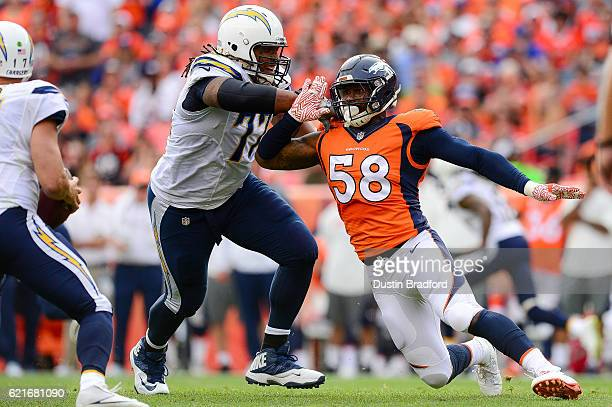 Outside linebacker Von Miller of the Denver Broncos rushes the passes as tackle King Dunlap of the San Diego Chargers blocks in the second quarter at...