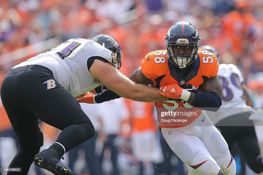Outside linebacker Von Miller #58 of the Denver Broncos works against tackle Ricky Wagner #71 of the Baltimore Ravens during a game at Sports Authority Field at Mile High on September 13, 2015 in Denver, Colorado.