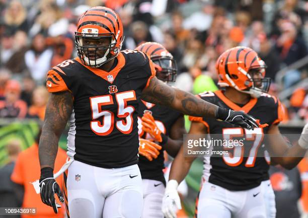 Outside linebacker Vontaze Burfict of the Cincinnati Bengals on the field in the third quarter of a game against the Cleveland Browns on November 25...