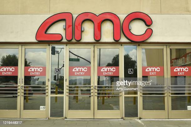 Outside of AMC Burbank Town Center 8 during the coronavirus pandemic on April 17 2020 in Burbank CA Due to COVID19 AMC Theatres were forced to close...