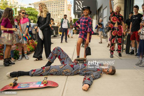 Outside of Spring Studios during New York Fashion Week on September 8 2019 in New York City