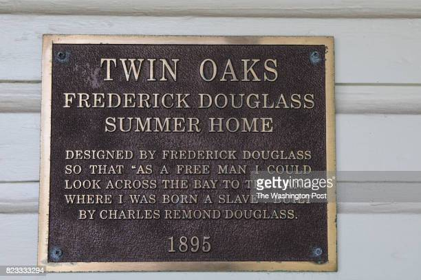 Outside of the Frederick Douglass Museum and Cultural Center housed in Twin Oaks the summer cottage built in 1895 for him by his son Charles Douglass...