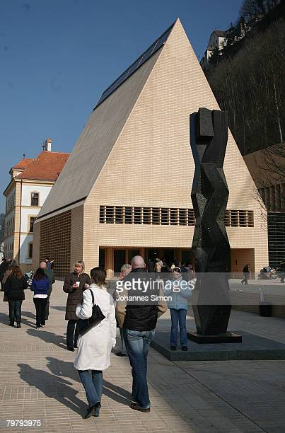 Outside of the newly erected Liechtenstein Parliamentary Building, seen after the opening to the public on February 16, 2008 in Vaduz, Liechtenstein....