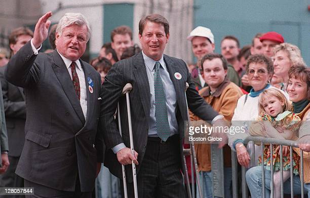 Outside of the Opera House in downtown crossing Sen Ted Kennedy waves to the crowd while Vice President Al Gore campaigns for him after attending a...